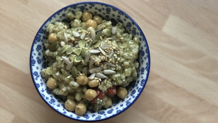 Recipe: Barley, Chickpea and Vegan Pesto Salad