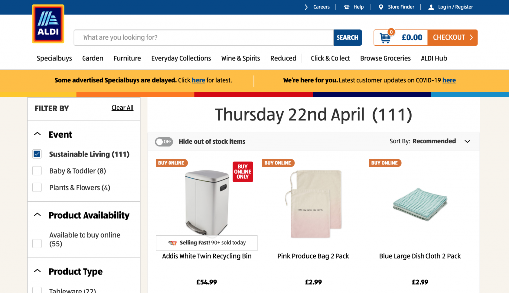 Aldi website showing their special buys